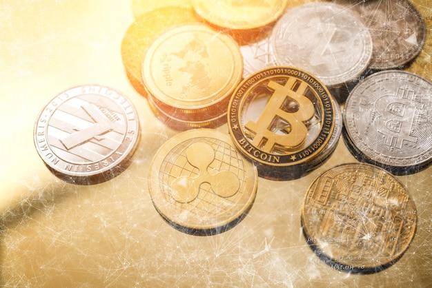 Konzept-bitcoin der blockchain-kryptowährungsgeschäftsstrategie