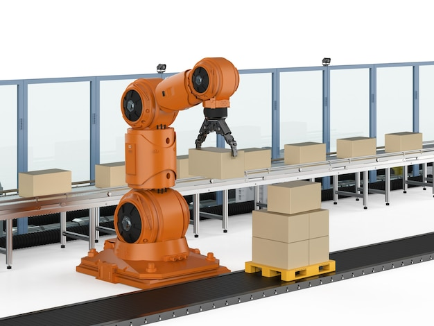 Konzept der automatisierungsindustrie mit 3d-rendering-roboterarm mit kartons auf förderband