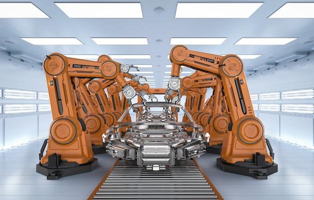 Konzept der automatisierungsindustrie mit robotermontagelinie in der fabrik