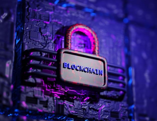 Konzept der blockchain-technologie. 3d-rendering