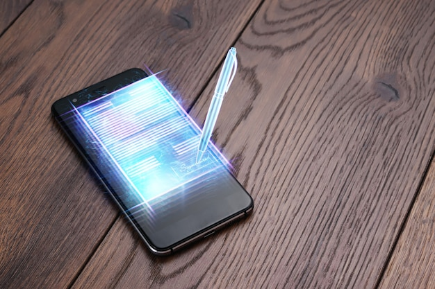 Konzept der elektronischen signatur, ferngeschäft, bild eines telefons und eines hologramms eines vertrages sowie eines stifts zur signatur. remote-zusammenarbeit, online-geschäft, speicherplatz. gemischte medien.