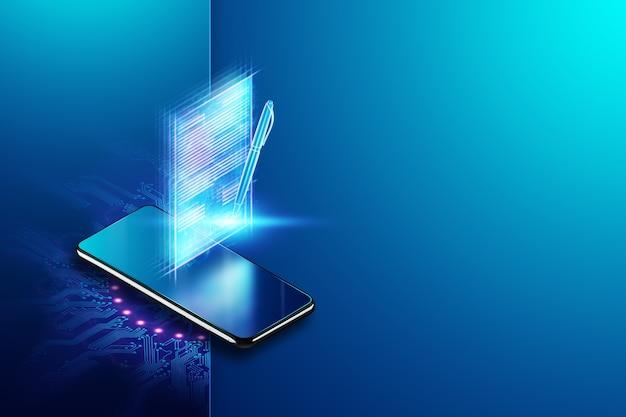 Konzept der elektronischen signatur, ferngeschäft, mobiltelefon und bild eines vertrags zur signatur. remote-zusammenarbeit, speicherplatz. gemischte medien. 3d-illustration, 3d-rendering.