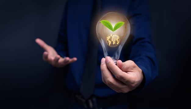 Konzept der energiesparenden glühbirnen lieben die umwelt