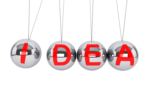 Konzept der ewigen idee. newton-kugel mit idee-zeichen auf weißem hintergrund