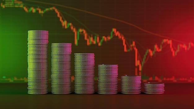 Konzept der finanzkrise, ein allmählicher rückgang des münzstapels mit einem verschwommenen diagramm der investmentaktien dahinter - 3d-rendering.