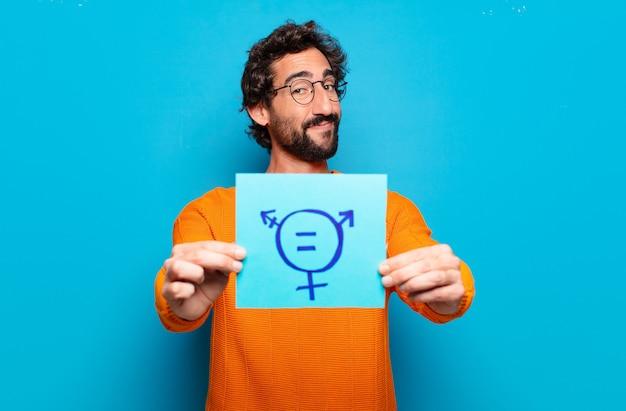 Konzept der geschlechterfreiheit des jungen bärtigen mannes