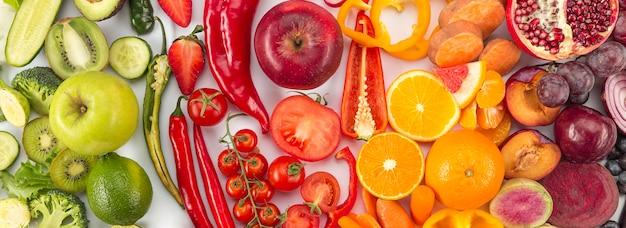 Konzept der gesunden ernährung in farbverlaufsfarben