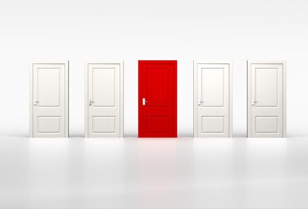 Konzept der individualität und gelegenheit. rote tür in reihe weißer geschlossener türen auf weiß