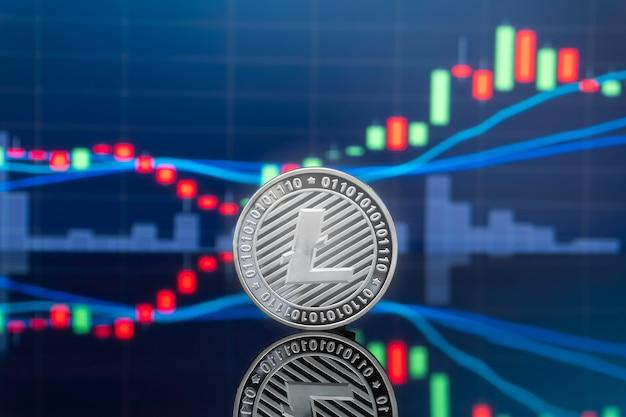 Konzept der investition von litecoin und kryptowährung.
