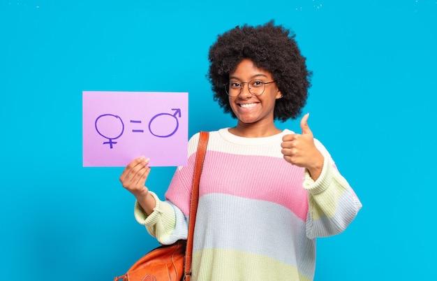 Konzept der jungen hübschen afro-frauengleichheit