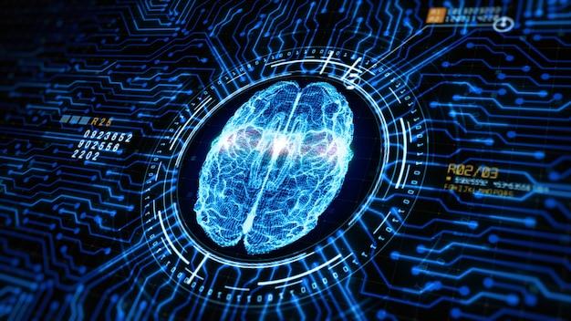 Konzept der künstlichen intelligenz gehirn über der platine