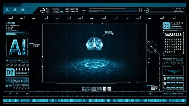 Konzept der künstlichen intelligenz gehirn über einer leiterplatte