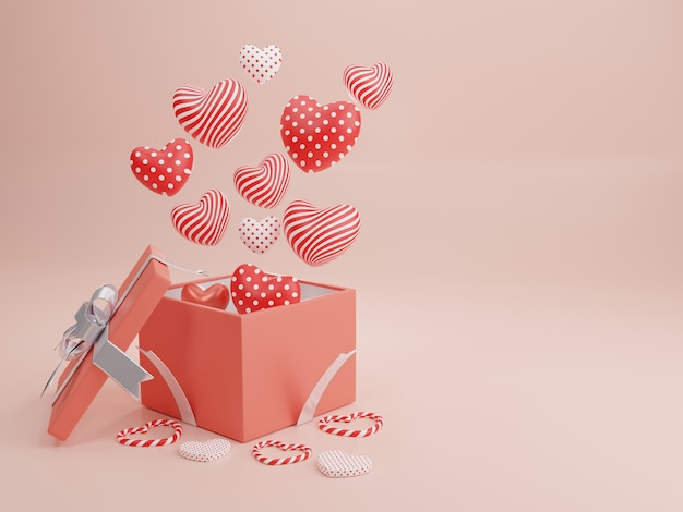 Konzept der liebe und des glücklichen valentinstags, herzform mit geschenkbox, die auf dem hintergrund schwimmt. 3d-rendering, illustration.