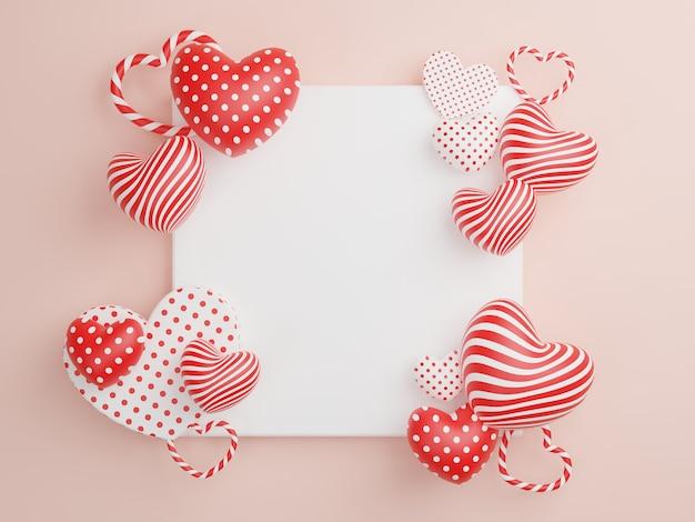 Konzept der liebe und des glücklichen valentinstags, herzform mit weißem bilderrahmen, der auf dem hintergrund schwimmt. 3d-rendering, illustration.