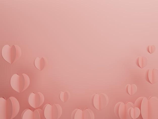 Konzept der liebe und des glücklichen valentinstags, herzformpapierschnittart auf dem rosa hintergrund. 3d-rendering, illustration.