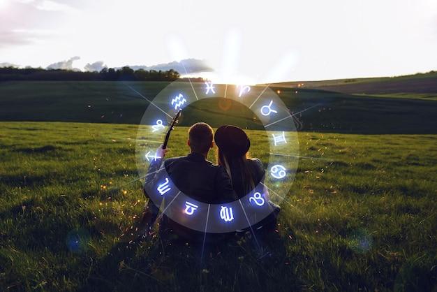Konzept der liebeskompatibilität zwischen sternzeichen horoskop astrologie sternzeichen