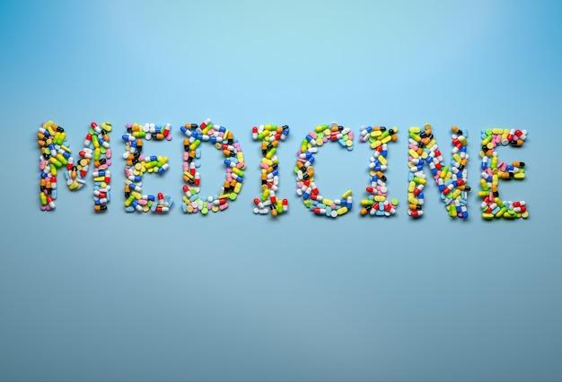 Konzept der medizin und des gesundheitswesens. wortmedizin mit kapseln und pillen auf blau buchstabiert. 3d-rendering
