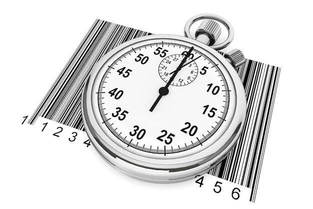 Konzept der schnellen lieferung. stoppuhr mit strichcode auf weißem hintergrund