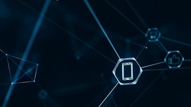 Konzept der sozialen netzwerkverbindungen. internet der dinge (iot) mit verbindungsleitungen.
