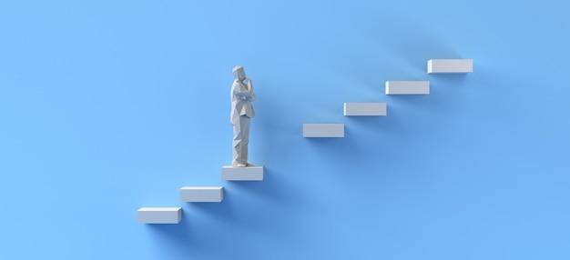 Konzept der überwindung von schwierigkeiten. mann, der fehlende schritte klettert. platz kopieren. 3d-abbildung.