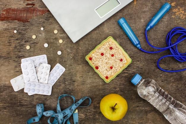 Konzept der verschiedenen möglichkeiten, gewicht zu verlieren.