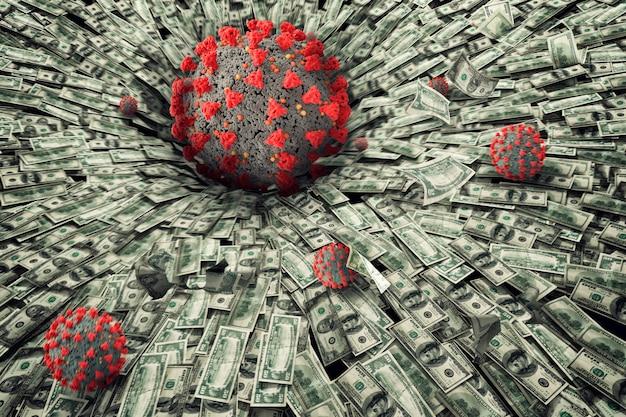 Konzept der wirtschaftlichen rezession und krise mit fallendem geld in einem schwarzen loch.