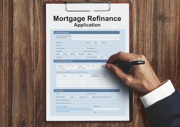 Konzept des antragsformulars für hypothekenrefinanzierung