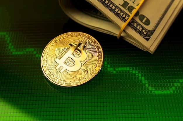 Konzept des bitcoin-wachstums, positives kryptowährungs-aktiendiagramm mit dollar im hintergrund