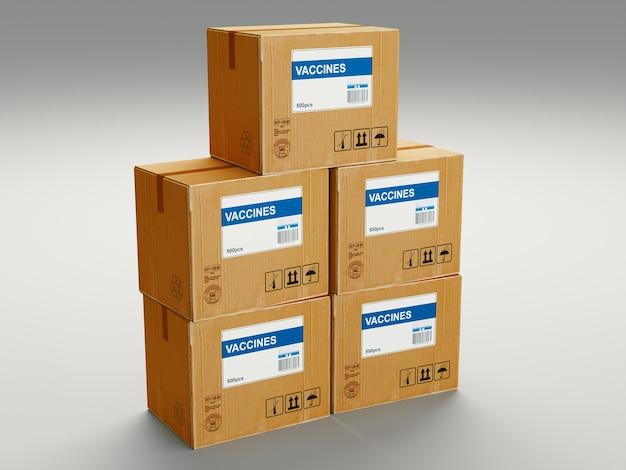 Konzept des covid-impfstoffs, viele boxen mit coronavirus-impfstoff. 3d-rendering.