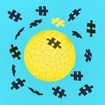 Konzept des geschäfts, gelbe erde puzzle auf blauem hintergrund
