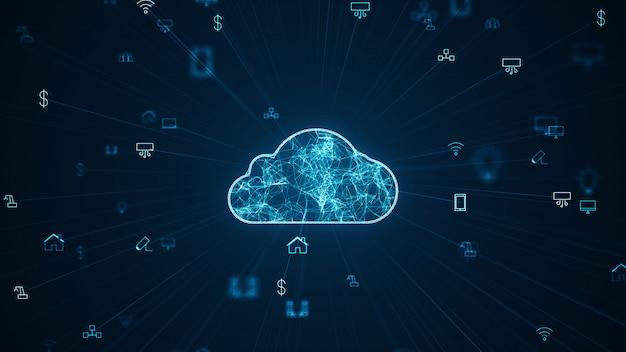 Konzept des internet der sachen (iot) datenverarbeitungsnetz der großen datenwolke.