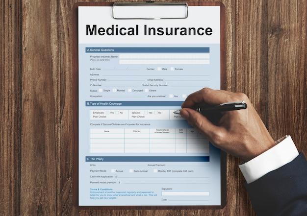 Konzept des krankenversicherungs-het-formulars
