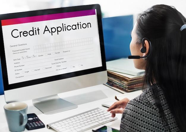 Konzept des kreditkartenantragsformulars