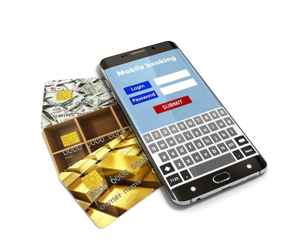 Konzept des mobilen bankgeschäfts, mit einem weißen bildschirm-smartphone, das auf dem bank-kreditkarten-3d-rendering liegt