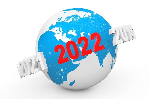 Konzept des neuen jahres. 3d-nummer 2022 um erdkugel auf weißem hintergrund. 3d-rendering