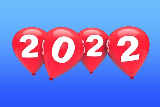 Konzept des neuen jahres. rote weihnachtsballons mit 2022 zeichen auf blauem himmelshintergrund. 3d-rendering