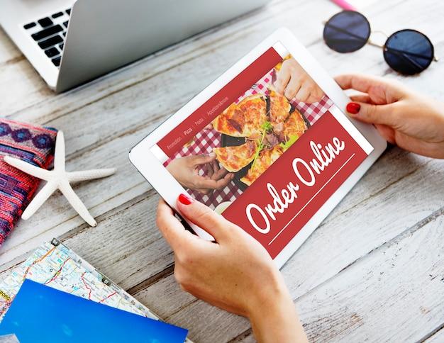 Konzept des online-pizza-lieferservice