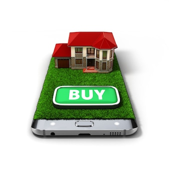 Konzept des online-verkaufshauses eigentum ist auf dem telefon 3d-illustrationen