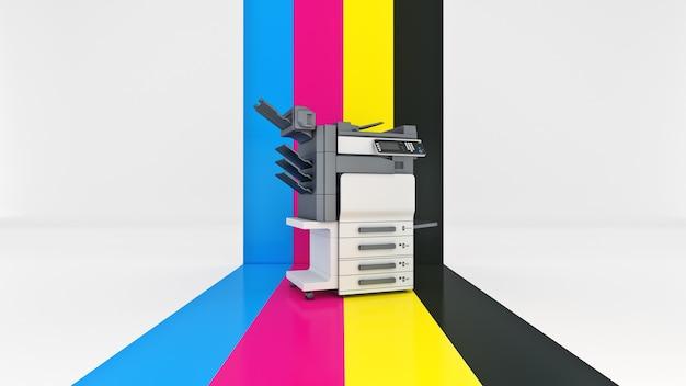 Konzept des vierfarbdrucks 3d-rendering