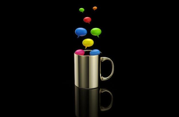 Konzept einer heißen tasse kaffee mit blasen