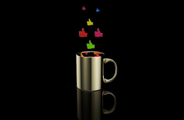 Konzept einer heißen tasse kaffee mit daumen