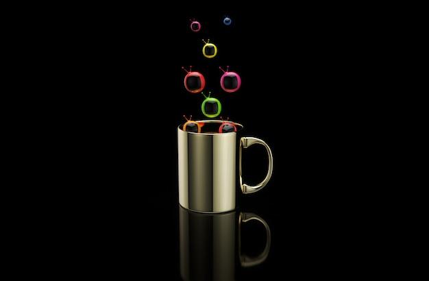 Konzept einer heißen tasse kaffee mit fernsehern