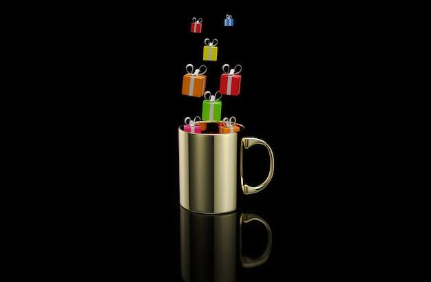 Konzept einer heißen tasse kaffee mit geschenken