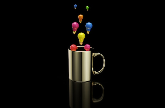 Konzept einer heißen tasse kaffee mit glühbirnen
