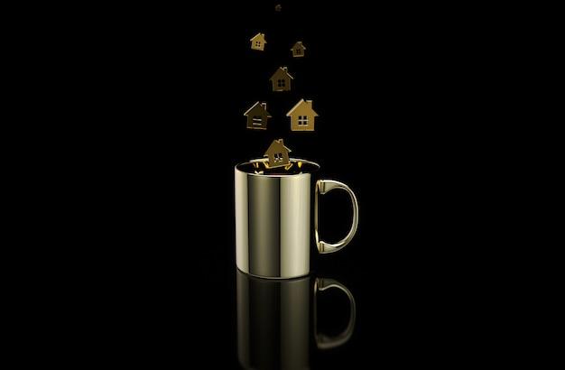 Konzept einer heißen tasse kaffee mit häusern