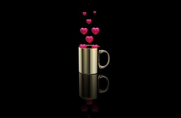 Konzept einer heißen tasse kaffee mit herzen