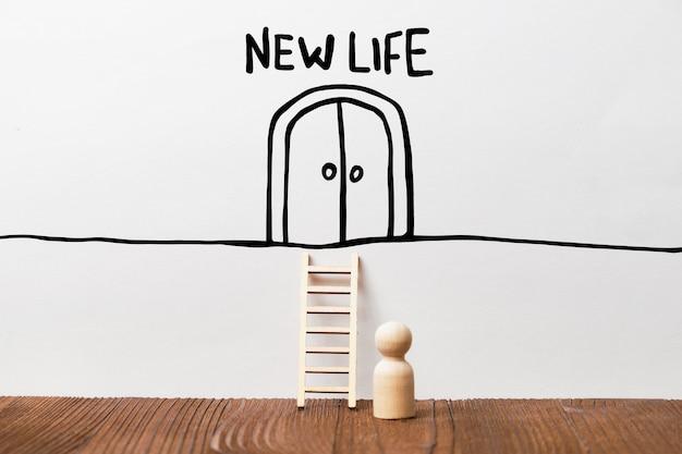 Konzept eines neuen lebens mit einer person vor einer treppe und einer türzusammenfassung.