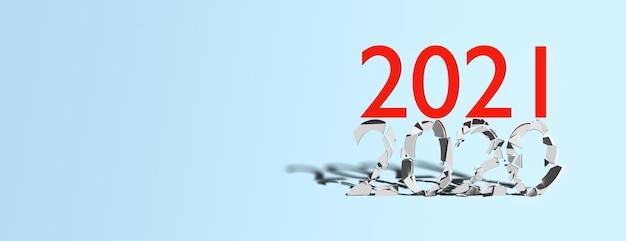 Konzept ende 2020 beginn 2021 auf blauem hintergrund, banner, kopierraum