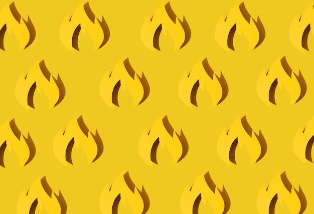 Konzept firefighters day - der internationale wichtige tag des feuers, wird in vielen ländern der welt gefeiert.schatten.feuer aus papier auf gelbem grund. grußkarte. muster. banner