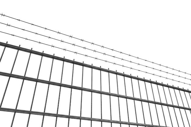Konzept für eingeschränkte bereiche. metallzaun mit stacheldraht auf weißem hintergrund. 3d-rendering